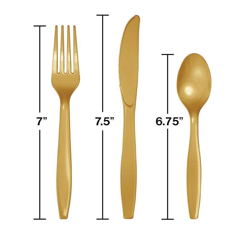 Gold Plastic Cutlery Set 24ct