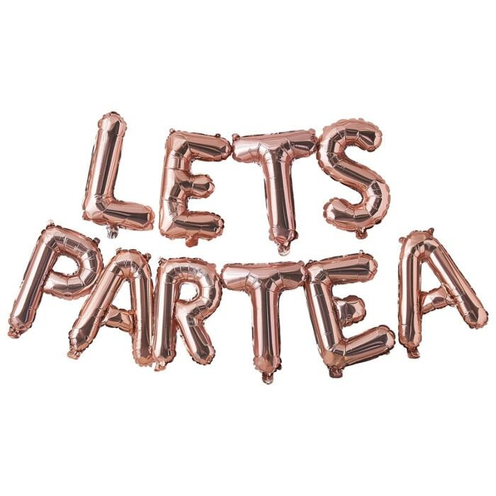 Rose Gold Let's ParTea Letter Balloon Banner