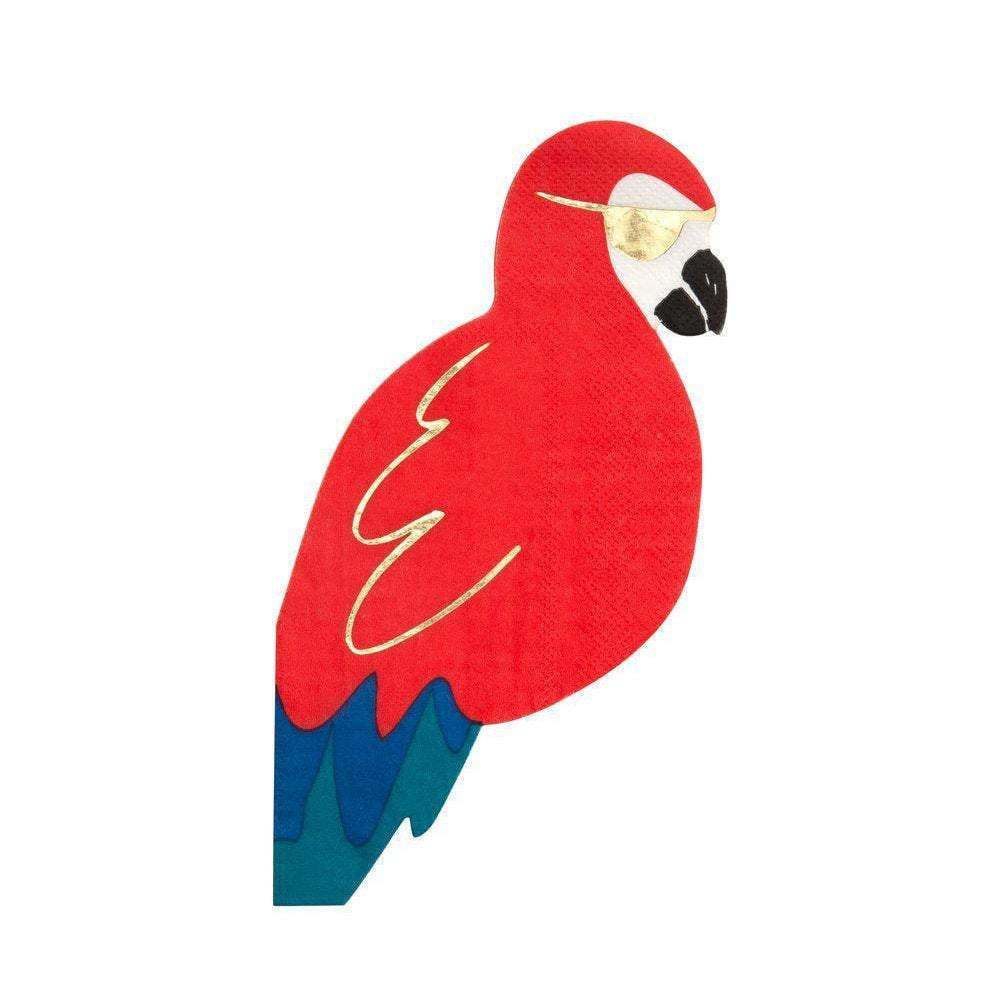 Shaped Parrot Pirate Lunch Napkins