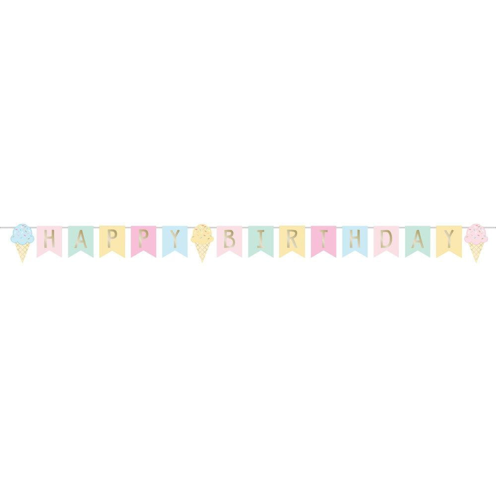 Ice Cream Happy Birthday Banner 8.3ft