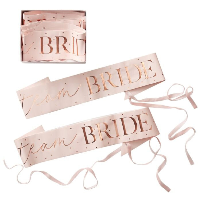 Rose Gold Team Bride Sashes