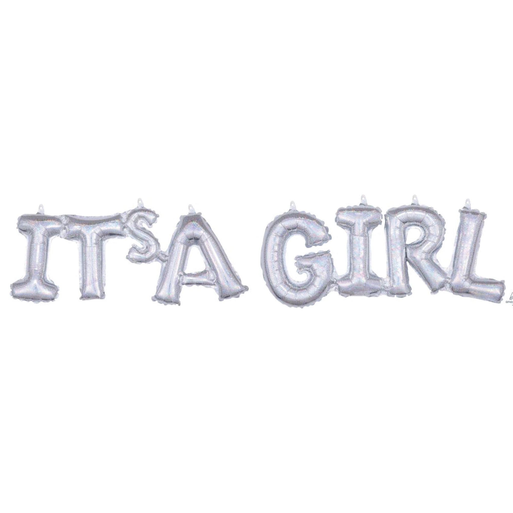 Silver It's A Girl Letter Balloon Banner