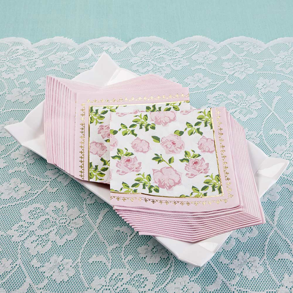 Pink Floral Tea Time Lunch Napkins 30ct | The Party Darling
