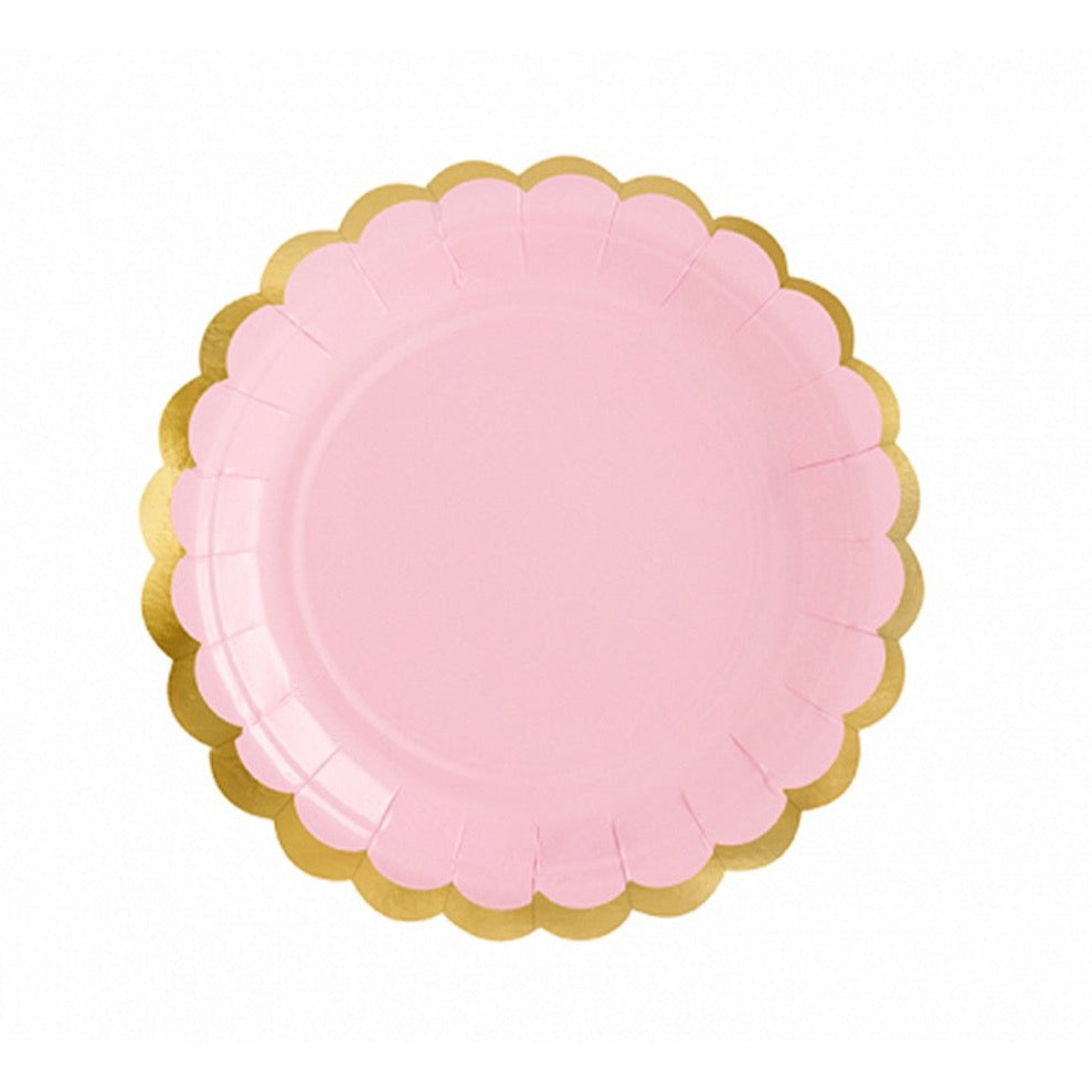 Pink Gold-Trimmed Scalloped Dessert Plates | The Party Darling