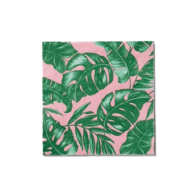 Pink Palm Leaf Cocktail Napkins | The Party Darling
