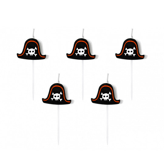 Black Pirate Hat Candles 5ct | The Party Darling