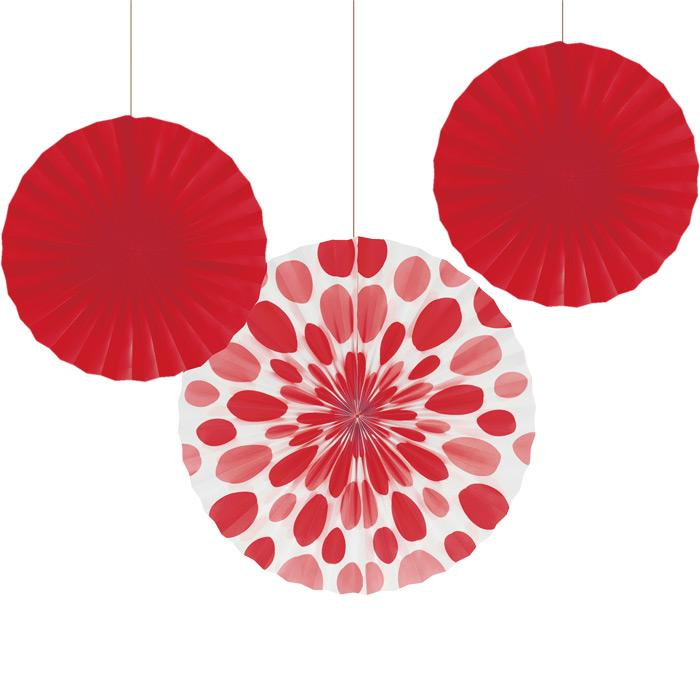 Red Dots Paper Party Fan Decorations | The Party Darling