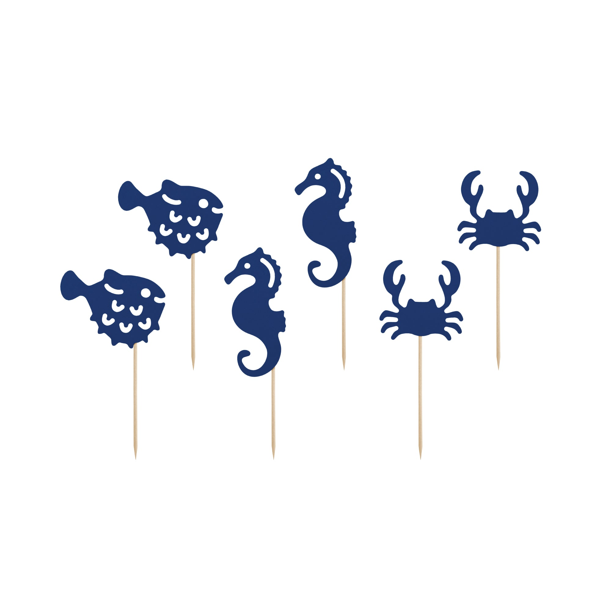 Navy Sea Creatures Cupcake Toppers