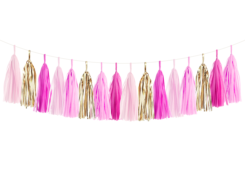 Pink Party Ombre & Gold Tassel Garland Kit | The Party Darling
