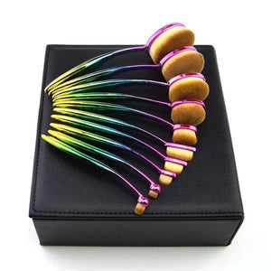 Rainbow Makeup Brushes - 10 Piece Set