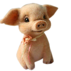Cute Needle Felted Pig - Handmade