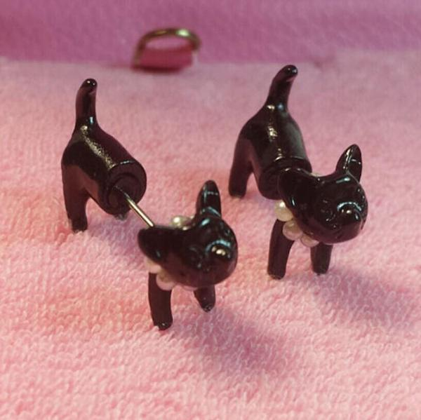 Black Cat - Stud Earrings