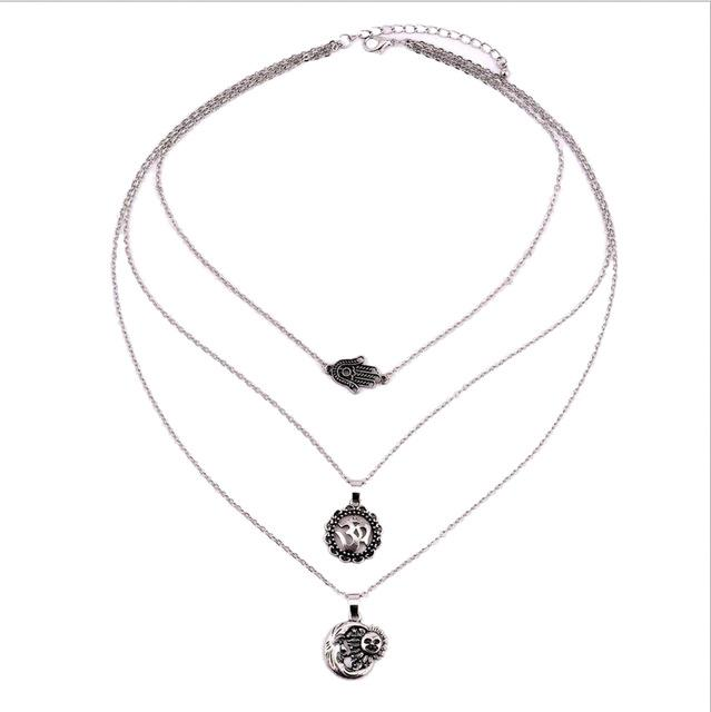 Multilayer Crescent  Necklace