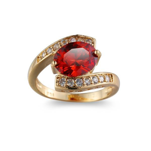 Red Jewel Center Geometric Shaped Gold Ring