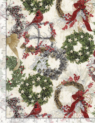 HOLIDAY WREATHS & CARDINALS de Timeless Treasures