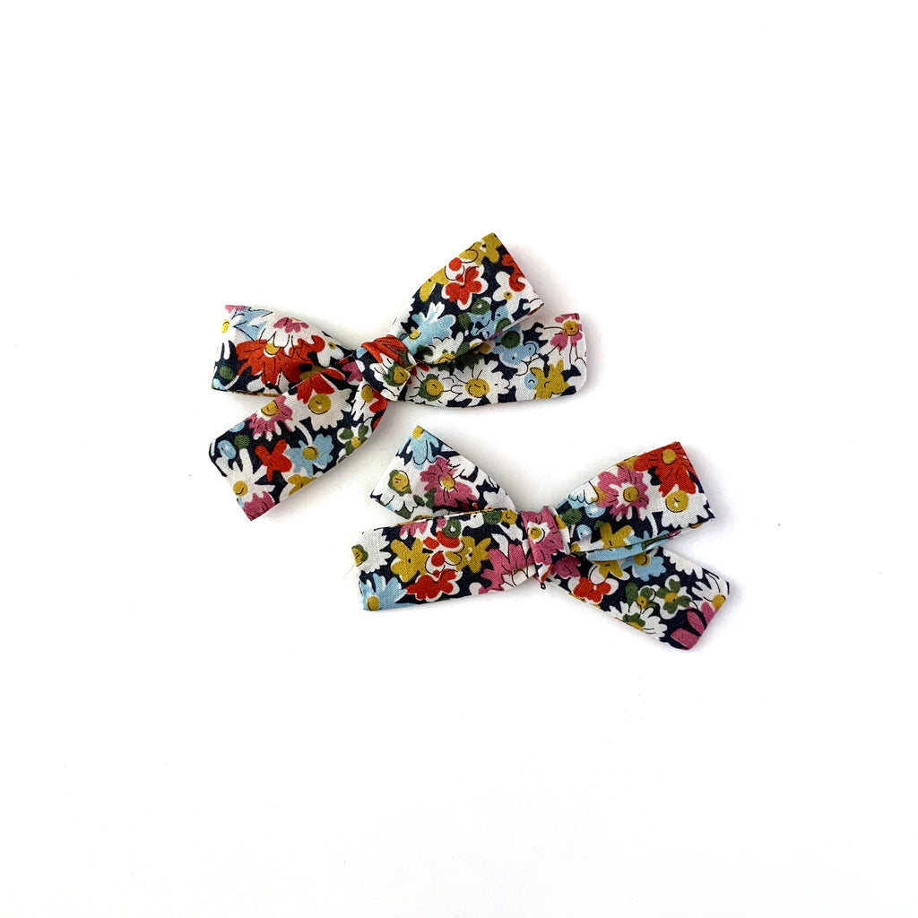 Skinny Ribbon Pigtail Bows, Liberty Multi Floral