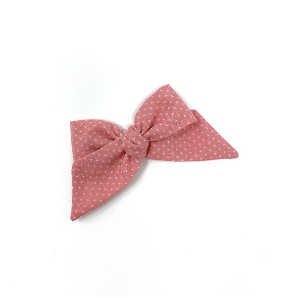 Baby Tied Bow, Pink Pin Dot