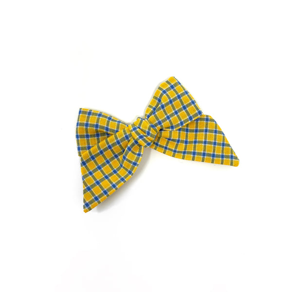 Baby Tied Bow, Yellow Plaid