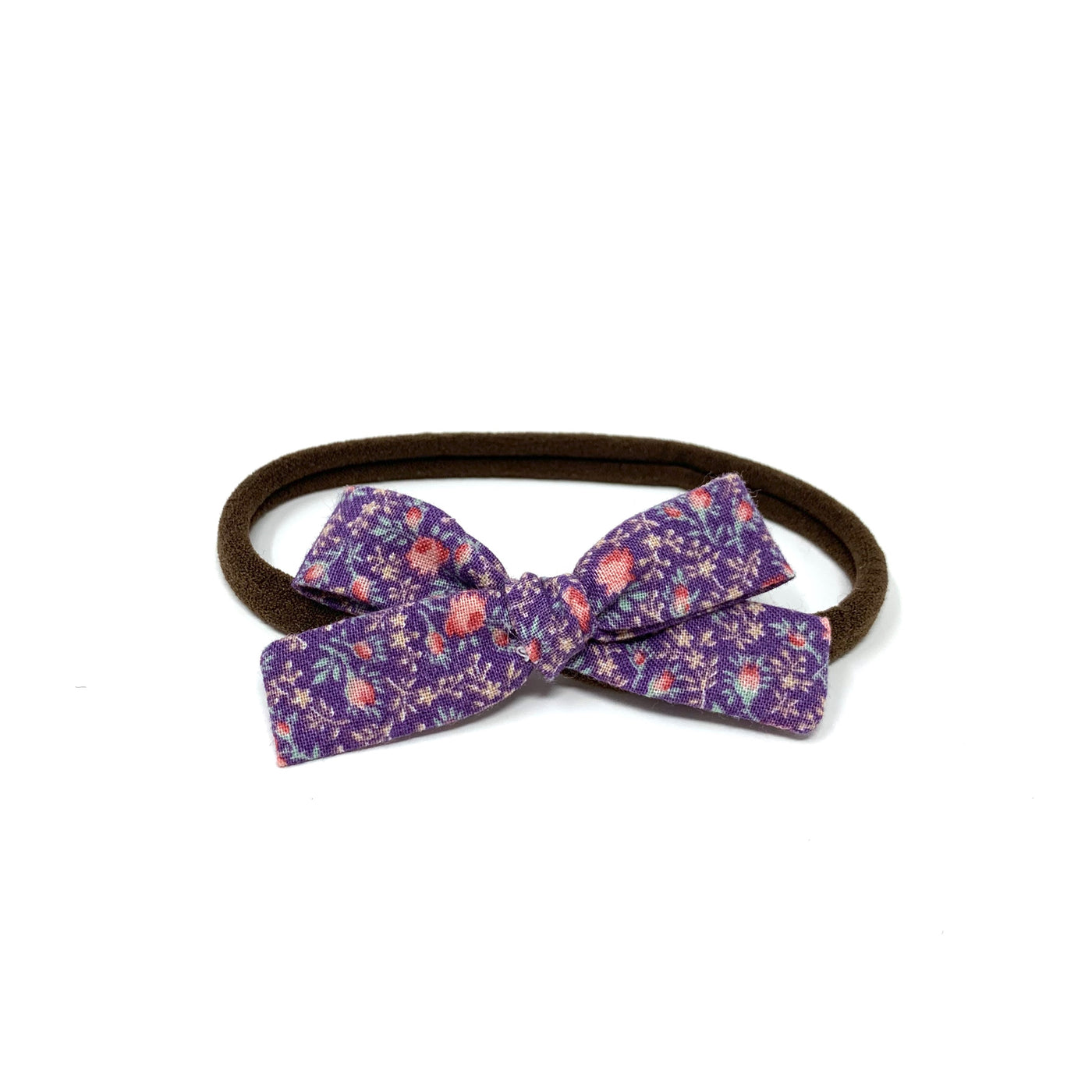 Skinny Ribbon Bow, Purple Florals