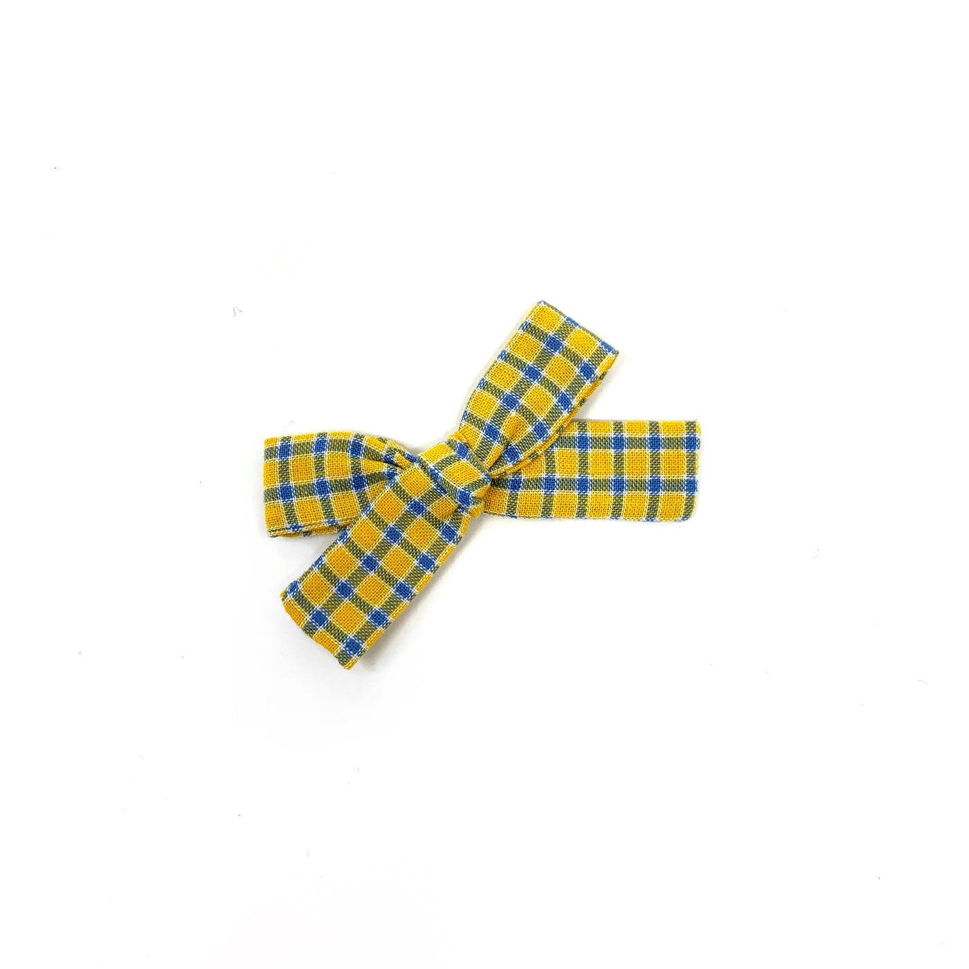 Skinny Ribbon Bow, Yellow Plaid