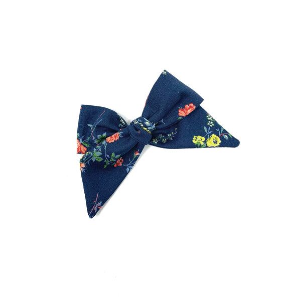 Baby Tied Bow, Liberty Navy Floral