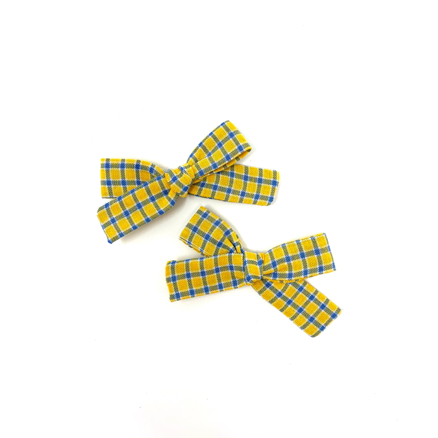 Skinny Ribbon Pigtail Bows, Yellow Plaid