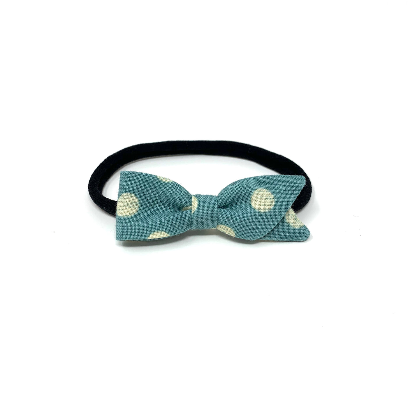 Petal Bow, Turquoise Dot
