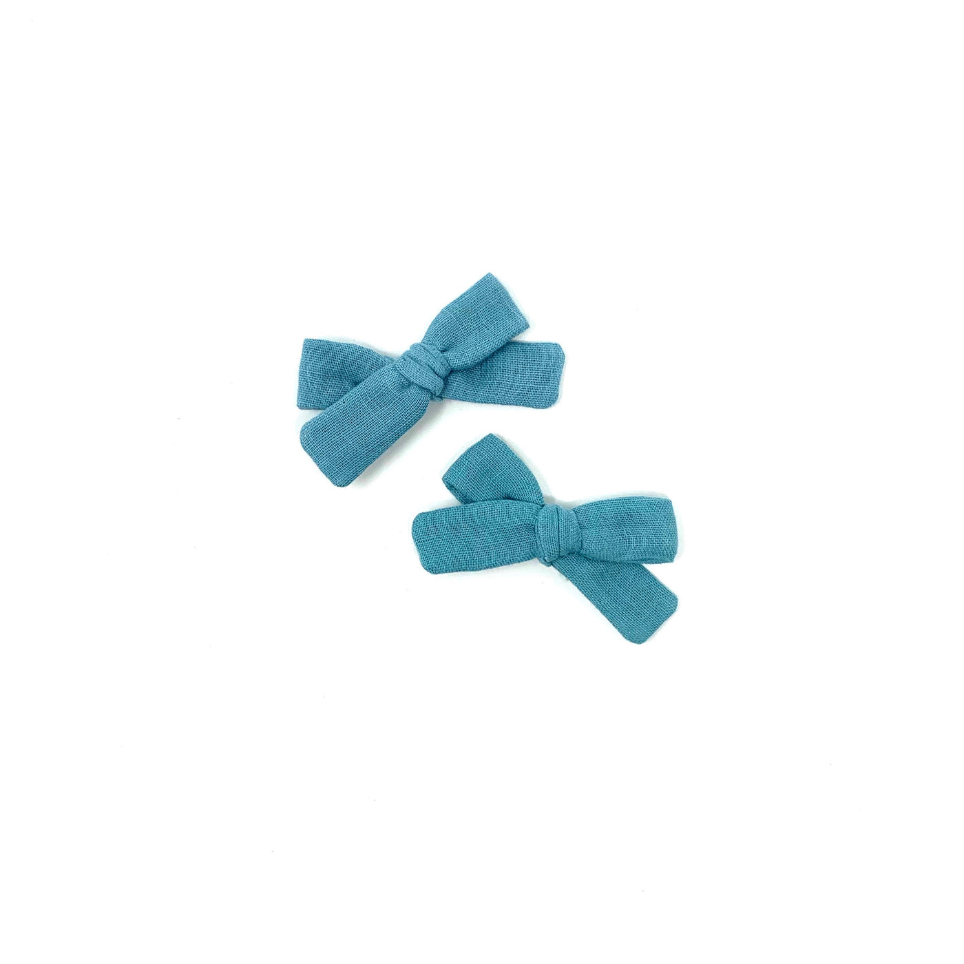 Skinny Ribbon Pigtail Bows, Dusty Blue Gauze