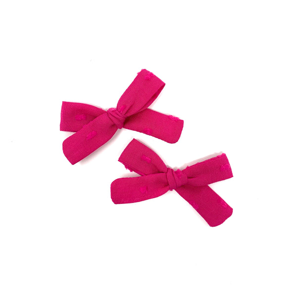 Love146 Skinny Ribbon Pigtail Bows, Fuchsia Swiss Dot
