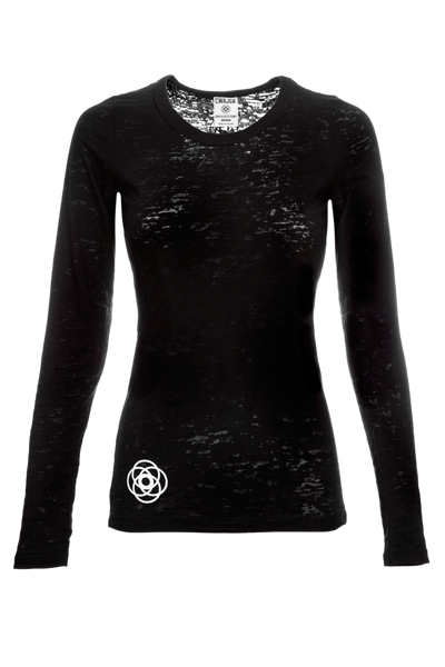 Breathe In - Light weight long sleeve yoga burnout Tee - (Black)