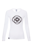 Breathe Out - Light weight long sleeve Yoga Burnout Tee (White)