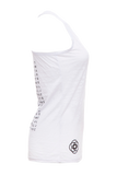 Chant Softly- Ladies ultra light yoga burnout tank (White)