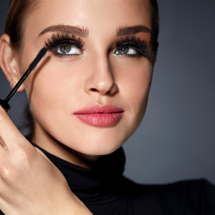 angle your brush when applying mascara