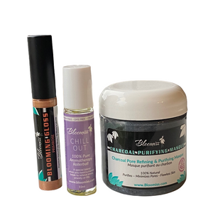 Charcoal mask, chill out aromatherapy, blooming lip gloss