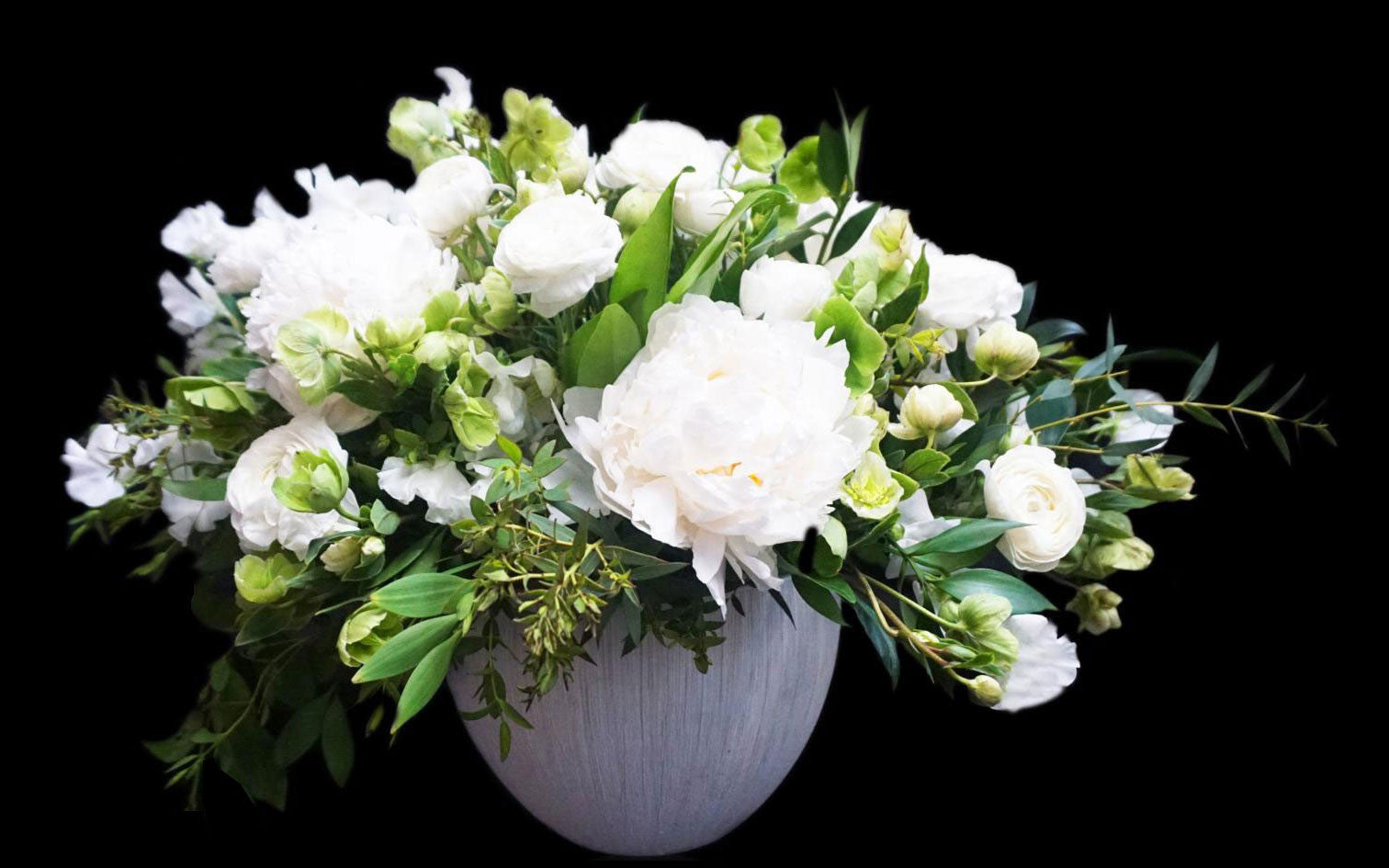 Ivory Peonies with Lush Greenery