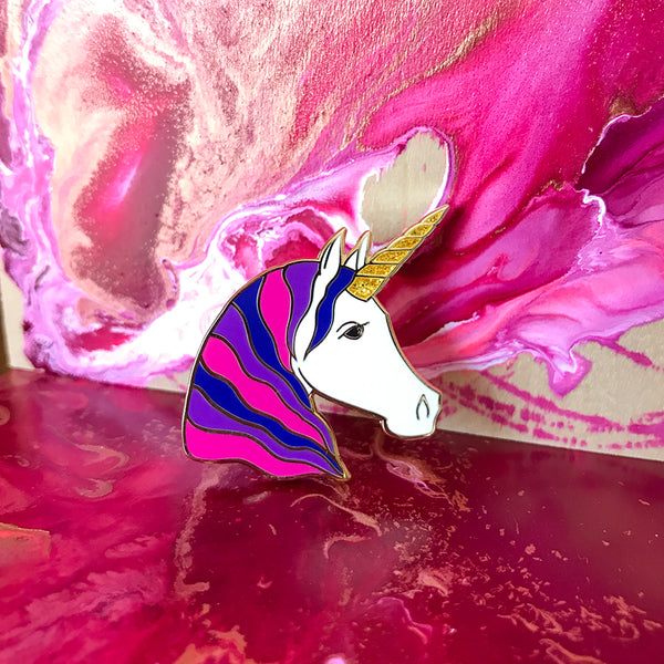 Unicorn Enamel Pin - Pink/Blue/Purple