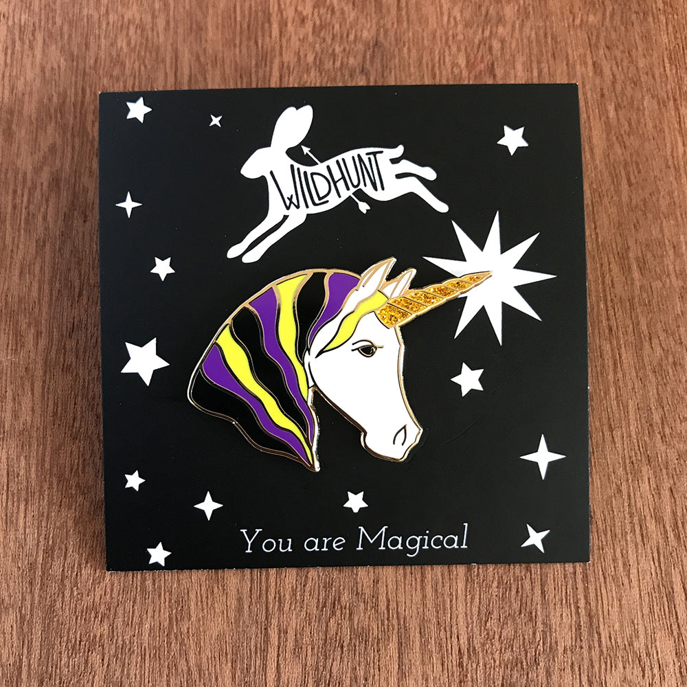 Unicorn Enamel Pin - Yellow/Black/Purple/White