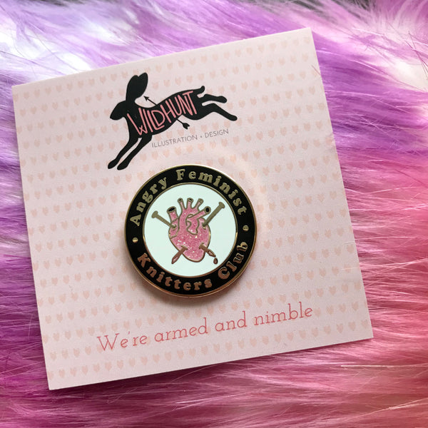 Angry Feminist Knitter's Club Enamel Lapel Pin - Black/Pink