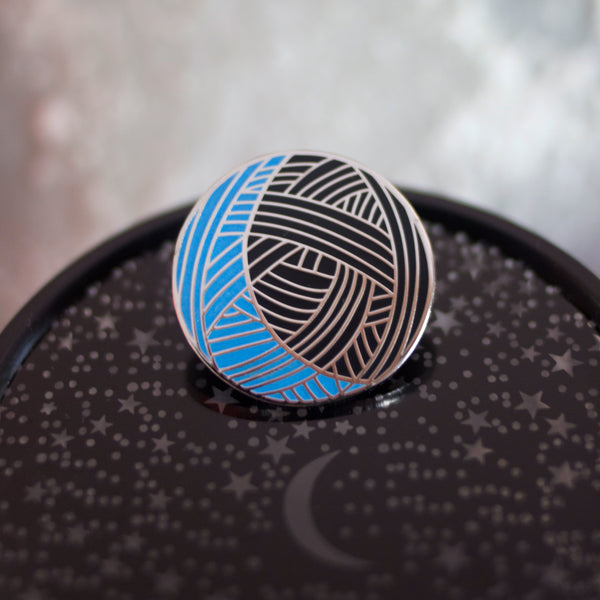 Knitting Moon Enamel Pin (Blue Glow/Silver Variant)