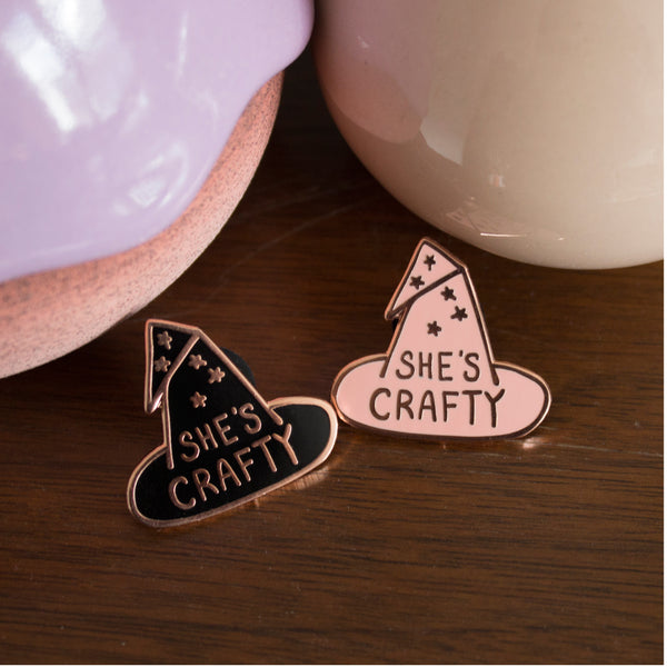 She's Crafty Enamel Lapel Pin- Pink
