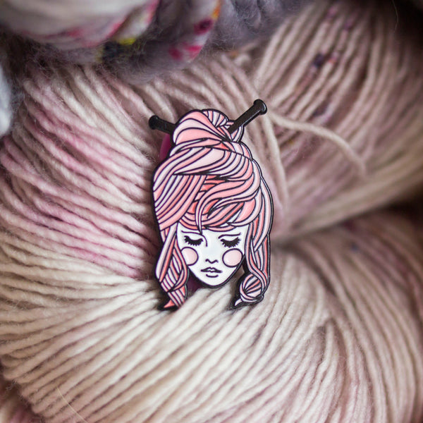 Knitter Girl Enamel Pin - Pink