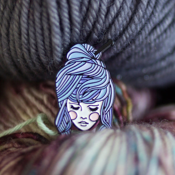 Knitter Girl Enamel Pin