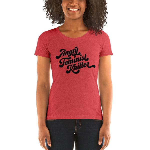 Angry Feminist Knitter Fitted Triblend Tee