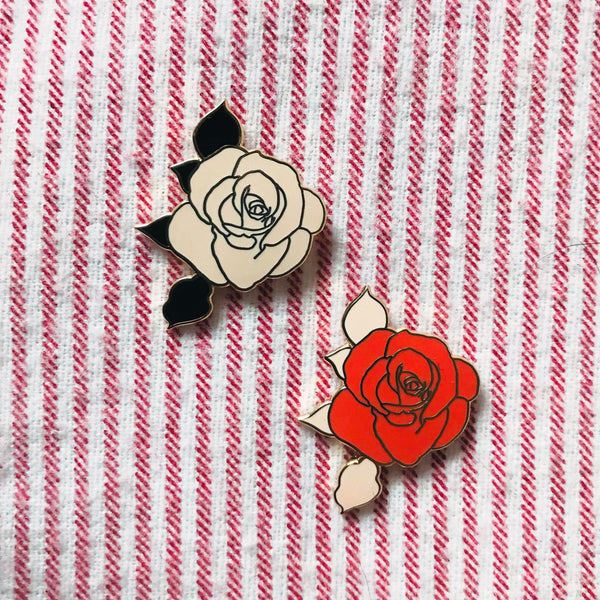 Rose Enamel Pin- Red