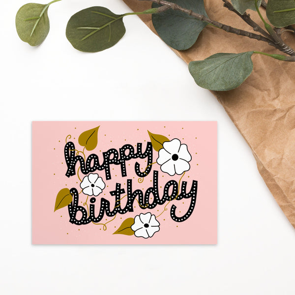 White Flower Birthday Postcard/Mini Print