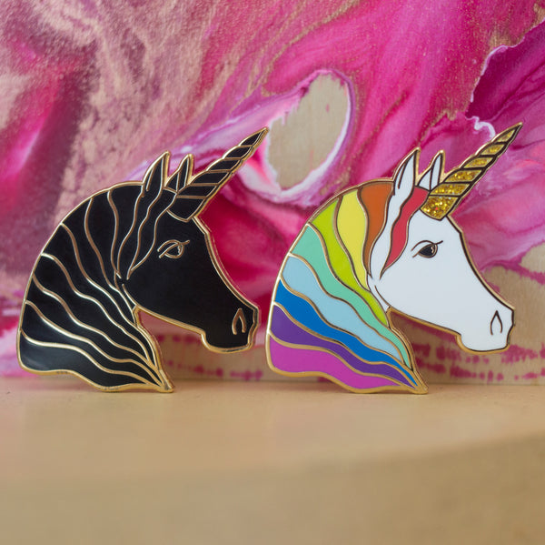 Unicorn Enamel Pin - Black