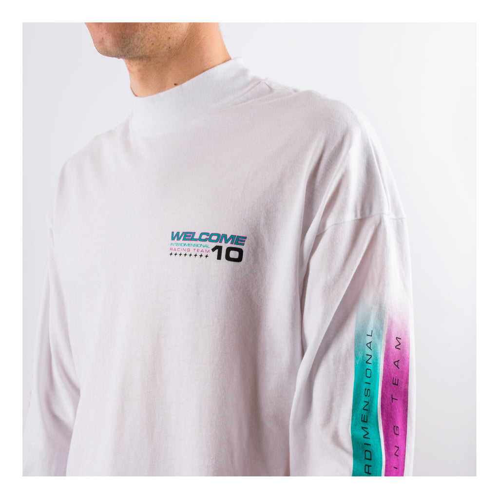 Space Race Mock Neck Long Sleeve - White