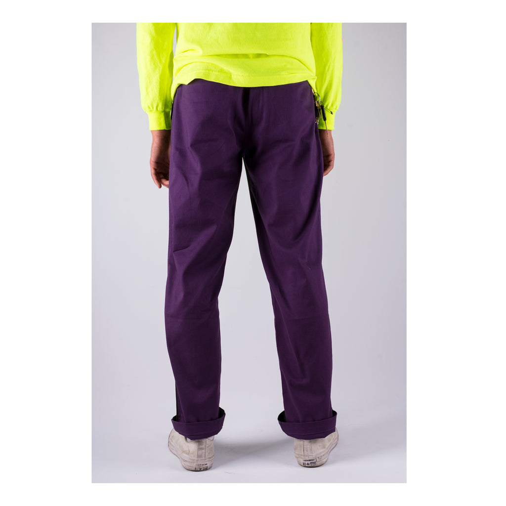 Dark Wave Split-Color Elastic Pants - Black/Grape