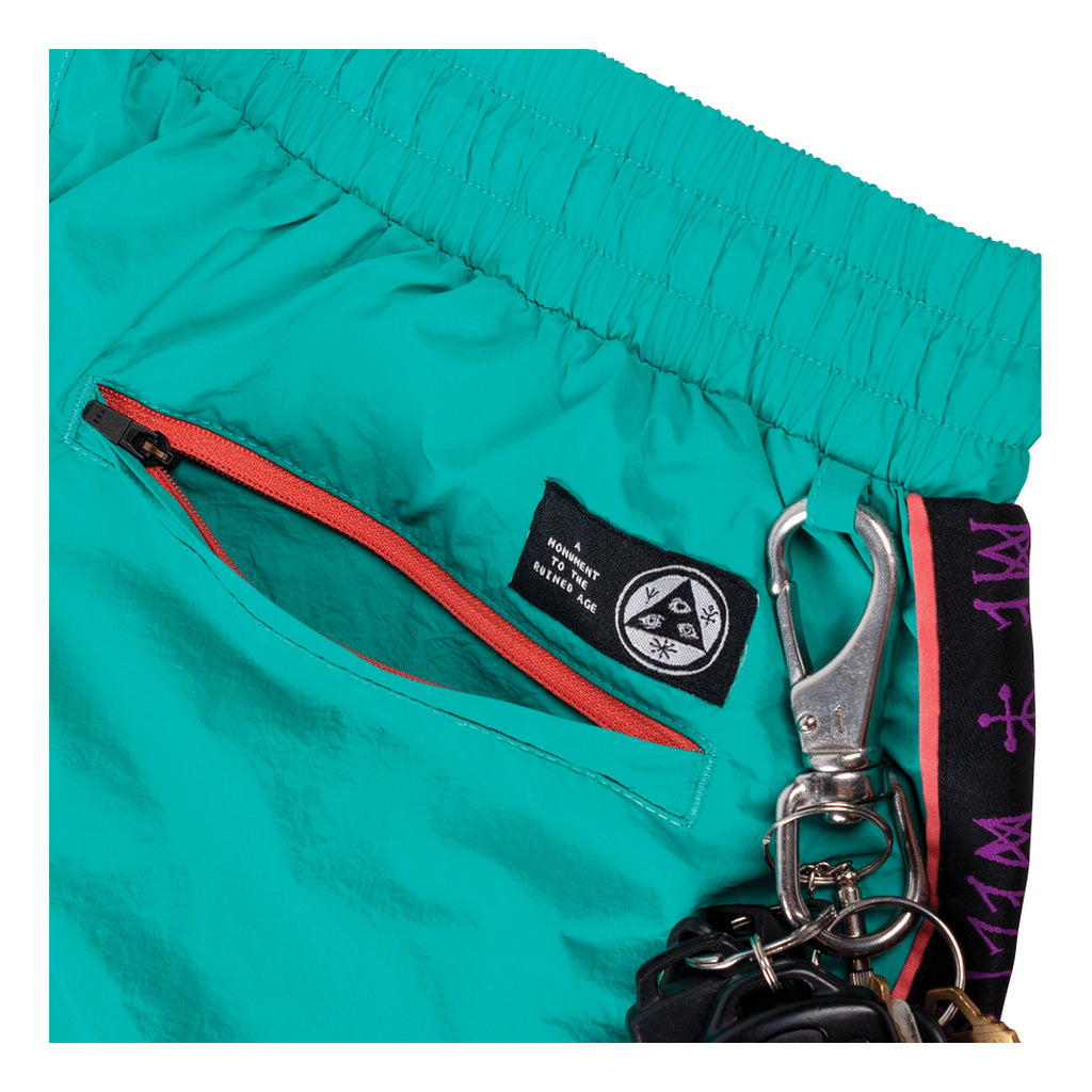 Athlete Woven Nylon Wind Pant - Teal/Black/Purple