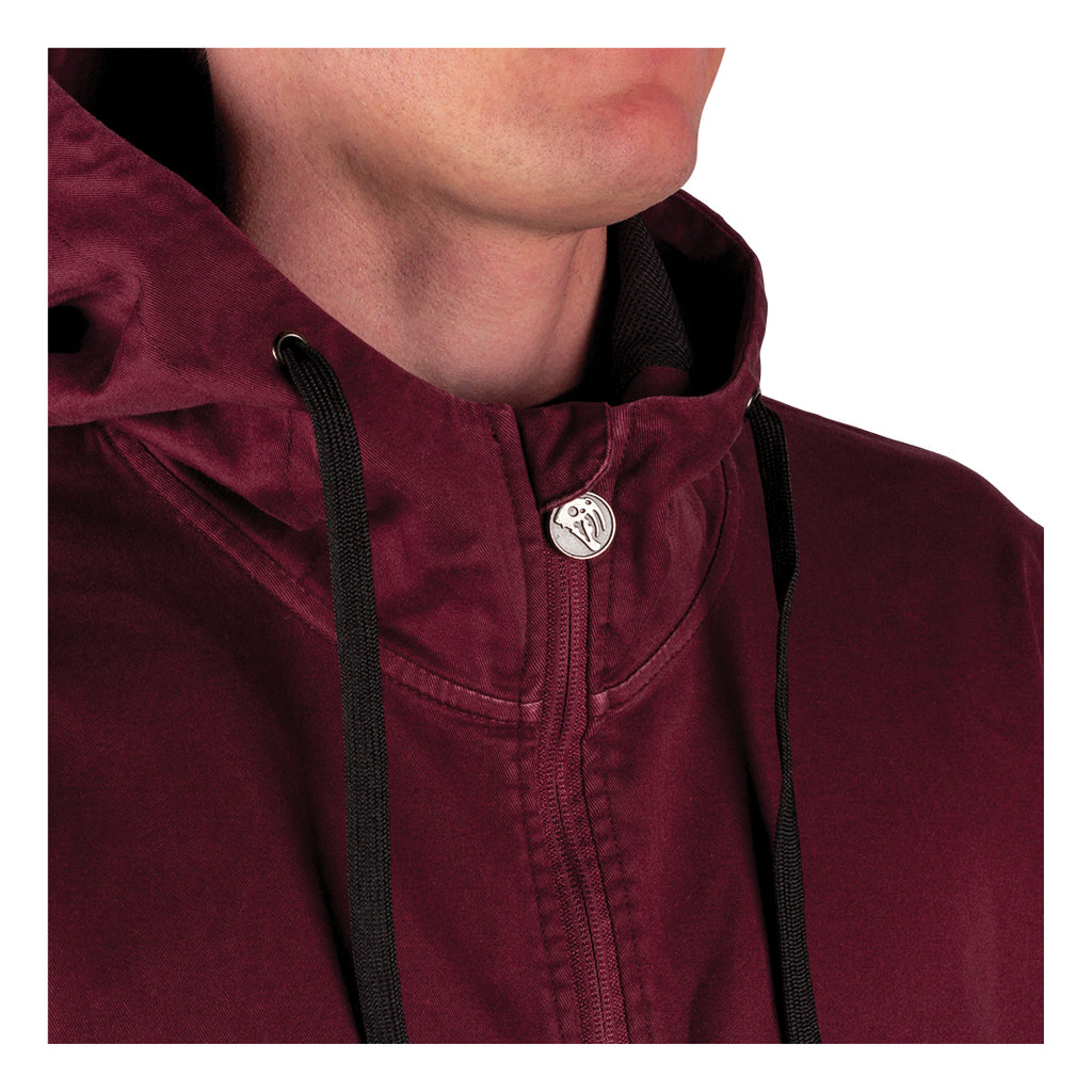 Scrawl Garment-Dyed Twill Anorak - Wine/Black